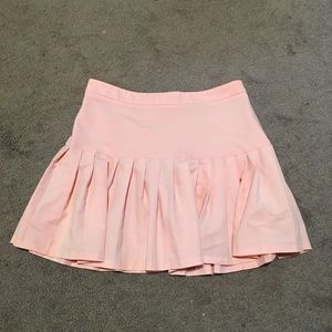 Pink drop waist pleated skirt